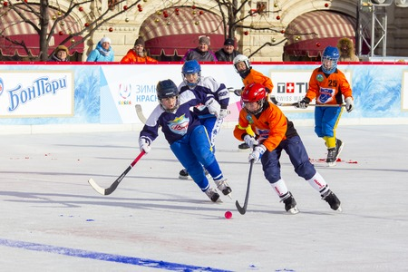 bandy: MOSCOW, RUSSIA - FEBRUARY 26, 2016: the final bandy tournament on Red Square