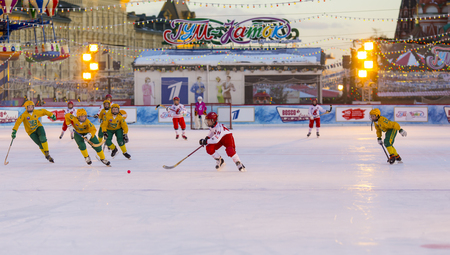 bandy: MOSCOW, RUSSIA - FEBRUARY 27, 2016: the final bandy tournament on Red Square
