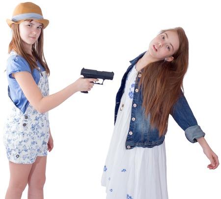 Teen girls cruelty problem, on white background