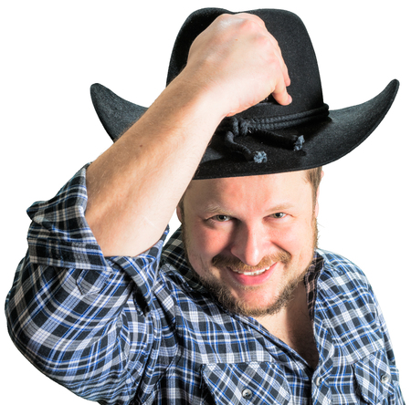 cowboy beard: Cowboy man at plaid shirt with black hat on white background