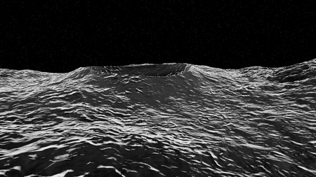 meteor crater: 3D illustration of moon surface with crater