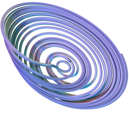 abstract figures: 3D illustration of abstract figures made of elastic ribbons Stock Photo