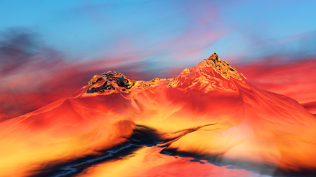 extreme science: 3D illustration of surreal jelly mountains on colorful background