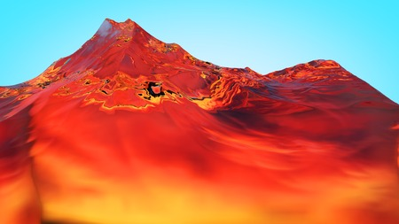 mountainside: 3D illustration of surreal jelly mountains on colorful background