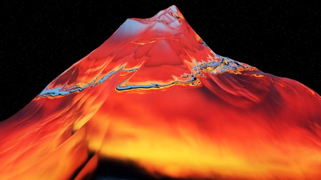 extreme science: 3D illustration of surreal jelly mountains on black starry background
