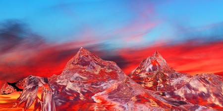 magma: 3D illustration of surreal jelly mountains on colorful background