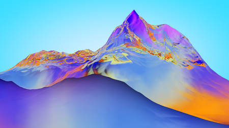 extreme science: 3D illustration of surreal jelly mountains on blue background