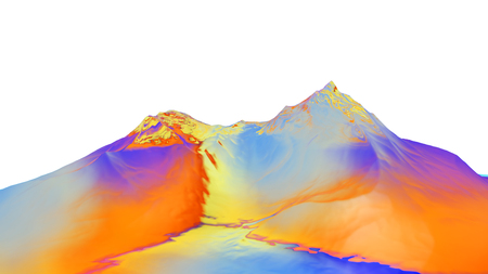 3D illustration of surreal jelly mountains on white background Stock Photo