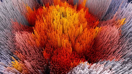 microscopy: 3D illustration of abstract macro render structure made of millions colored columns Stock Photo