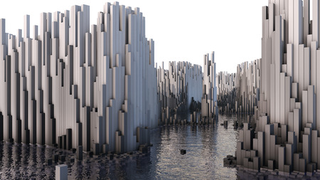 millions: 3D illustration of abstract render structure made of millions columns on the water