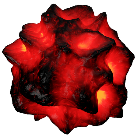 disaster relief: 3D illustration of lava exploision on white background