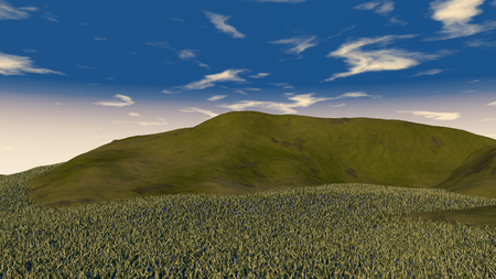 mountainside: 3D illustration of green hill with grass on blue sky background Stock Photo