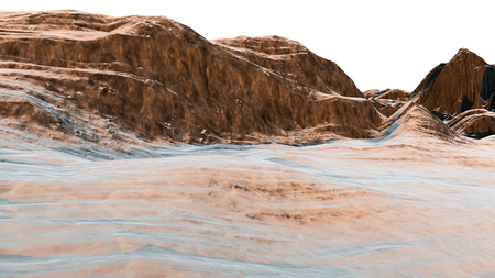 winter range: 3D illustration of mountain surface with snowy surface