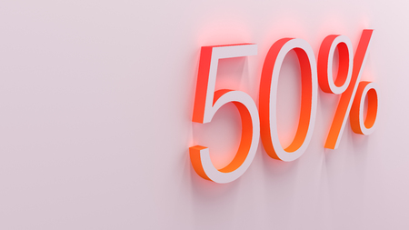 the percentage: 3D illustration of percentage numbers discount object Stock Photo