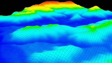 topografia: Ilustración 3D de la estructura de la superficie del terreno se ve como mapa de la topografía