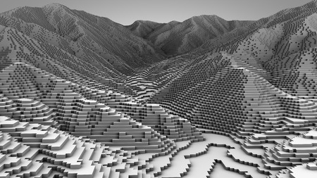 mountainside: 3D illustration of mountain topographic model monochrome