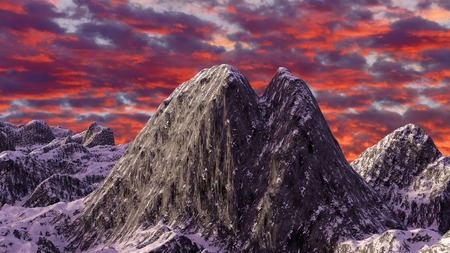 dramatic sky: 3D illustration of mountain on dramatic sky background