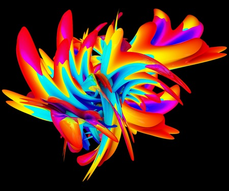 surge: 3D illustration of abstract splash object on black background