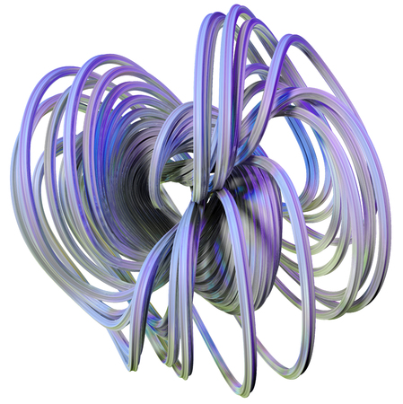 3D illustration of abstract figures made of elastic ribbons Stock Photo