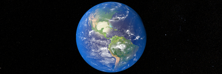 water's: 3D illustration of planet Earth with continents and blue ocean waters.