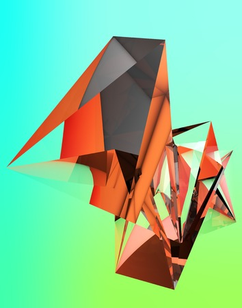 the polyhedron: 3D illustration of irregular polygonal  polyhedron colored object Stock Photo