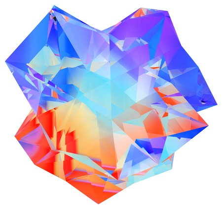 irregular: 3D illustration of irregular polygonal  polyhedron colored object Stock Photo