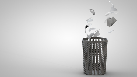 waste basket: 3D illustration of waste basket with thrown away papers Stock Photo