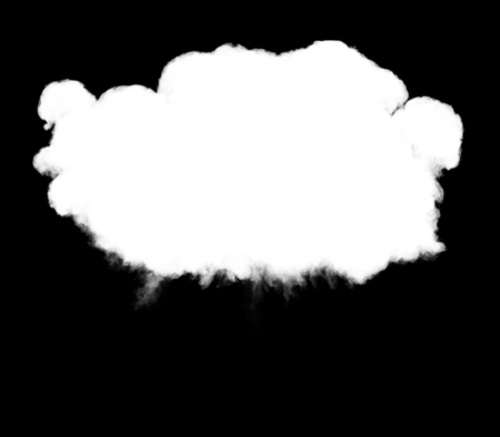 blowup: 3D illustration of explosion cloud silhouette on black background
