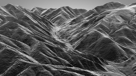 extreme science: 3D illustration of mountain topographic model monochrome