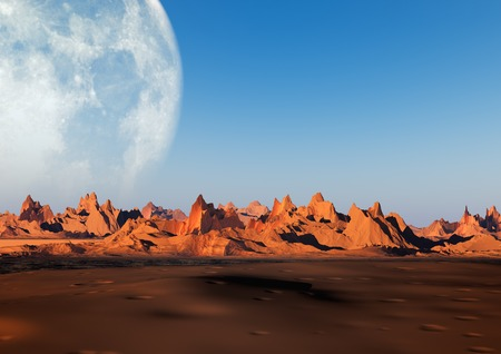 mountainside: 3D illustration of mountain landscape with big moon on background
