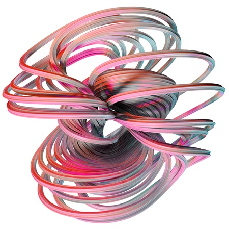 twist: 3D illustration of abstract figures made of elastic ribbons Stock Photo