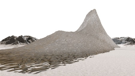 extreme science: 3D illustration of rock mountain object on white surface