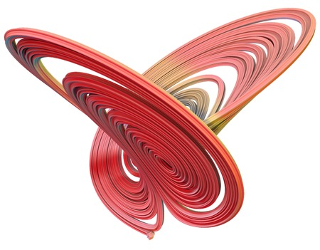 on elastic: 3D illustration of abstract figures made of elastic ribbons Stock Photo