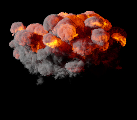 blowup: 3D illustration of explosion fire cloud on black background