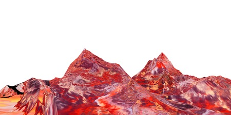 extreme science: 3D illustration of surreal jelly mountains on white background Stock Photo