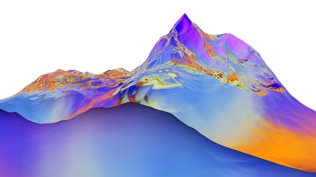 mountainside: 3D illustration of surreal jelly mountains on white background Stock Photo