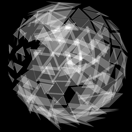 consist: 3D illustration of colored globe object consist of triangles