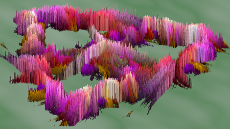 millions: 3D illustration of abstract macro render structure made of millions colored columns Stock Photo
