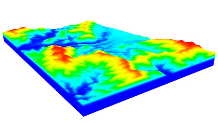 terrain: 3D illustration of terrain surface structure looks like topography map