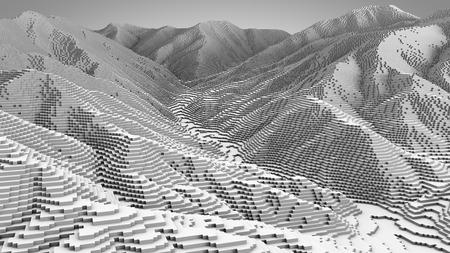 3D illustration of mountain topographic model monochrome