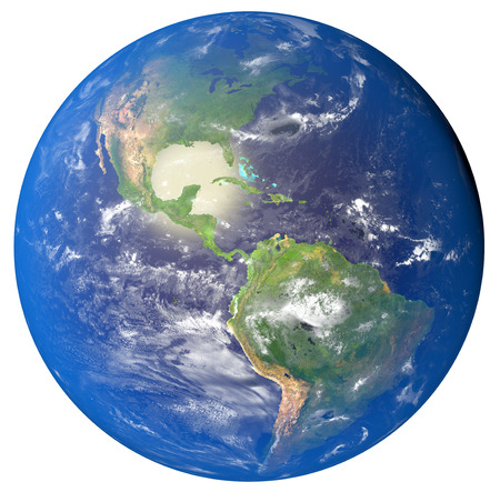 water's: 3D illustration of planet Earth with continents and blue ocean waters. Elements of this image furnished by NASA.