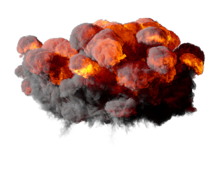 3D illustration of explosion fire cloud on white background Stock Photo