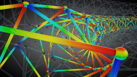 multi: 3D illustration of multi section engineering polygonal structure