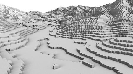 topography: Ilustraci�n 3D de la estructura de la superficie del terreno se ve como mapa de la topograf�a