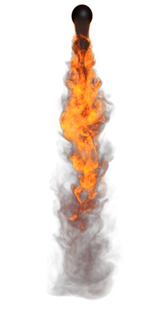 detonation: 3D illustration of explosion fire cloud on white background Stock Photo
