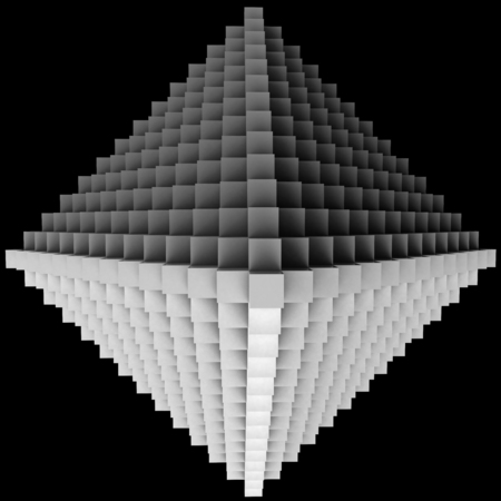 rhomb: 3D illustration of three-dimensional rhomb object consists of cubes