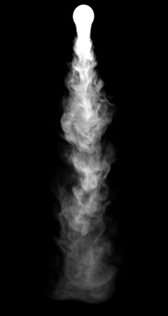 catastrophic: 3D illustration of explosion fire cloud and smoke on black background