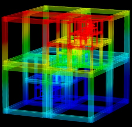 carcass: 3D illustratie van abstracte gekleurde karkas kubus bouw