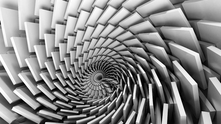 3D illustration of swirl funnel techno plates Standard-Bild