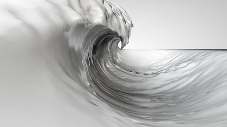 white wave: 3D illustration of transparent liquid wave on white background